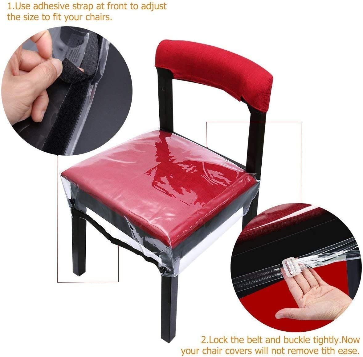 Plastic Dining Chair Covers Protectors, Adjustable Belt Strap Dining Chair Cover, 78x77x11.5cm, 2 Pack