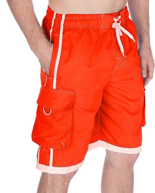 c6e350273d Sakkas 3097WS Mens Contrast Stripes Skate Surf Board Short/Swim Trunks -  Orange/X