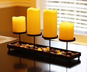 Seraphic Iron 4 Candle Pillar Candelabra Table Centerpiece Candle Holder