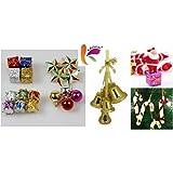 KRIWIN® 70 pcs Christmas Tree Decorations Set (Balls, Bells, Gifts, Drums, Stars, Candy Sticks & Santa Claus)
