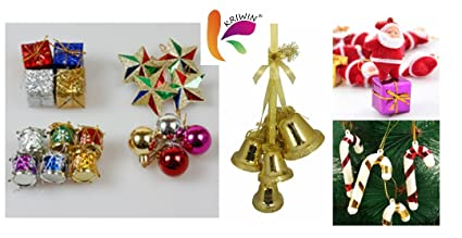 kriwin 70 pcs christmas tree decorations set balls bells gifts drums