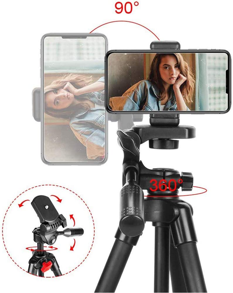 Camera Tripod SSLine Phone Tripod with Phone Clip Compatible with iPhone//Android Wireless Remote Shutter Suitable for Camera//Cell Mobile Phone 360 Degree Rotating Head Carry Case