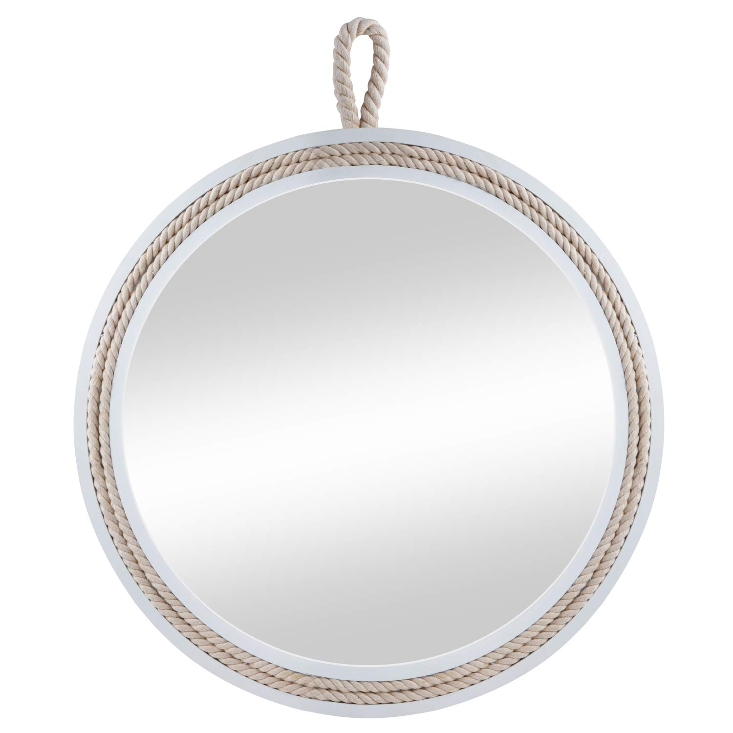 Decor Trends Wall Mirror Rope Mirror Round Decorative Mirror with Wooden Frame & Rope Hanging Loop for Wall,Vintage Wooden Mirror for Home Decor (Dia 11.4'')