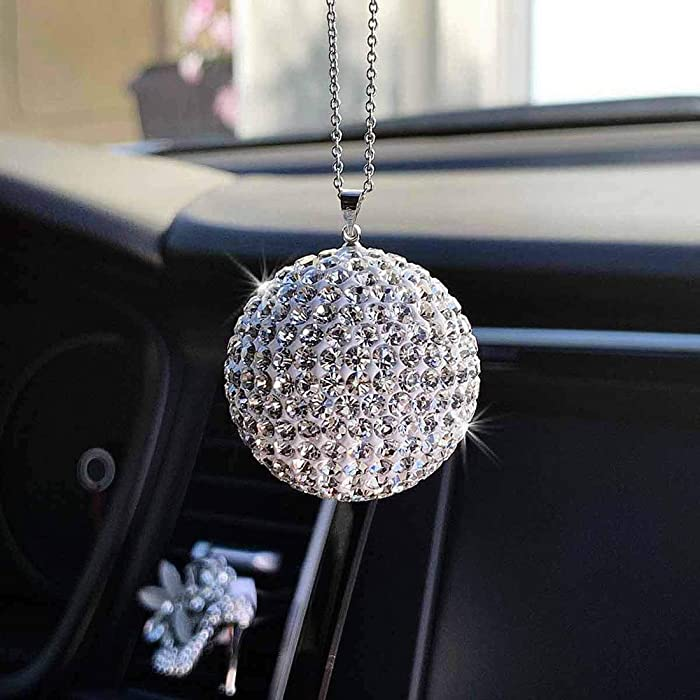 JJMY Bling Car Accessories, Car Bling Decoration Crystal Ball Car Rear View Mirror Charm Bling Decor Crystal Rhinestone Car Bling Interior Accessories Silver Ball Ornaments Bling Hanging Charm