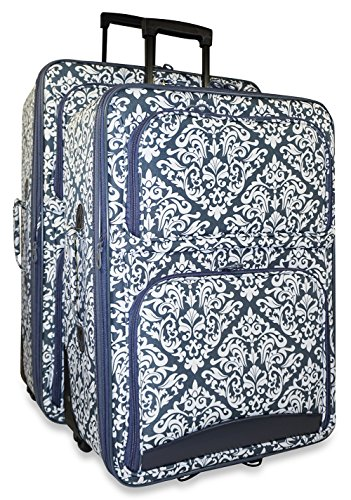 Ever Moda Damask 2 Piece Luggage Set (Grey) by Ever Moda