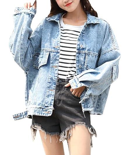 fa089bbdec9b LaoZanA Veste en Jeans Femmes Blouson Jean Veste Manches Longues Casual  Déchirés Denim Blouson  Amazon.fr  Vêtements et accessoires