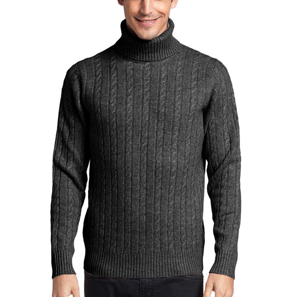 Parisbonbon Men's 100% Cashmere Turtleneck Sweater Color Dark Gray Size L