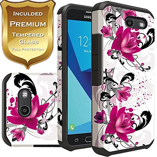 Emerg Phone - For Galaxy J3 Luna Pro Case, Galaxy J3 Mission Case,Galaxy J3 Eclipse Case, Galaxy J3 Emerg/Galaxy J3 Prime Case, Rubber Sturdy Dual Layer Cover + [ Tempered Glass Screen Protector(White Flower)