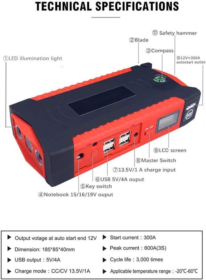 12V 16000mAh Paquete de bater/ías de Emergencia y el Cargador MTSBW del Salto del Coche del arrancador Construido en un Luces LED y br/újula Gasolina Diesel Motor de Arranque autom/ático