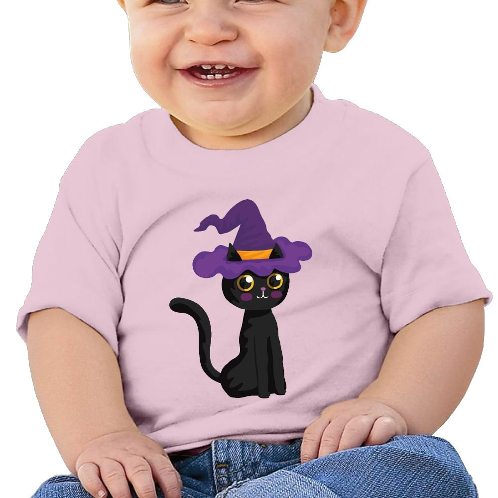 AiguanHalloween Black Cat Toddler//Infant Short Sleeve Cotton T Shirts Pink