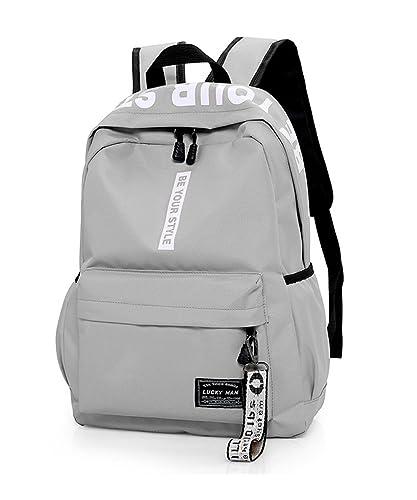 54bd8c228e0c1 Trayosin Schulrucksack Jugendliche Laptop Canvas Rucksack für Herren Damen  Mädchen (Grau)