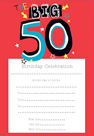 Birthday Invitations Male 50th Pack Of 20 Sheets