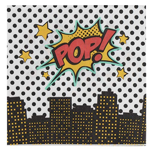 Cocktail Napkins - 150-Pack Luncheon Napkins, Disposable Paper Napkins Kids Birthday, Comic Themed Party Supplies, 2-Ply, Superhero Design, Unfolded 13 x 13 Inches, Folded 6.5 x 6.5 Inches