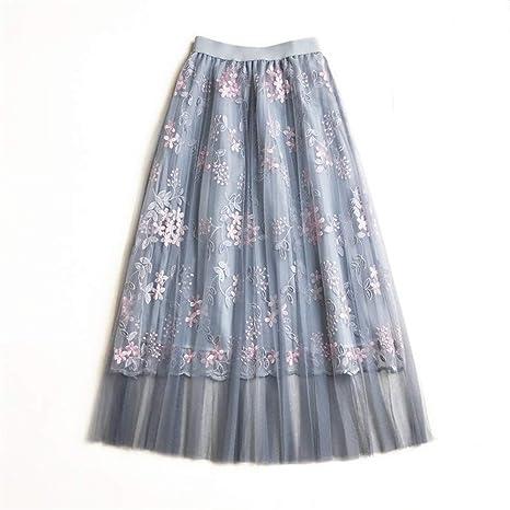 Faldas de mujer plisadas vintage Falda de malla bordada de flores ...