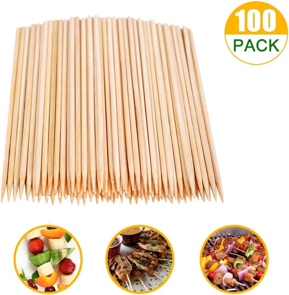 SRXING Bamboo Skewers,Kebab Sticks,Wooden Skewers,Skewer Sticks,Short Skewers,Wooden Kebab Skewers -Skewers for Fruit Kabobs,Shish Kabob, Grill, Appetizer, CornMore Food(12-Inch(100pcs))