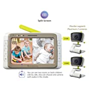 MoonyBaby Split Screen, Wide Angle, Two Cameras System Video Baby Monitor with 5  LCD, Automatic Night Vision, Temperature Monitoring, Two Way Talkback (MANUALLY Rotated Camera)