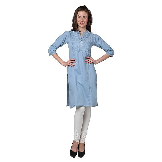 8da4de21463 Naila Enterprises Women's Denim Knee Length Kurti: Amazon.in: Clothing &  Accessories