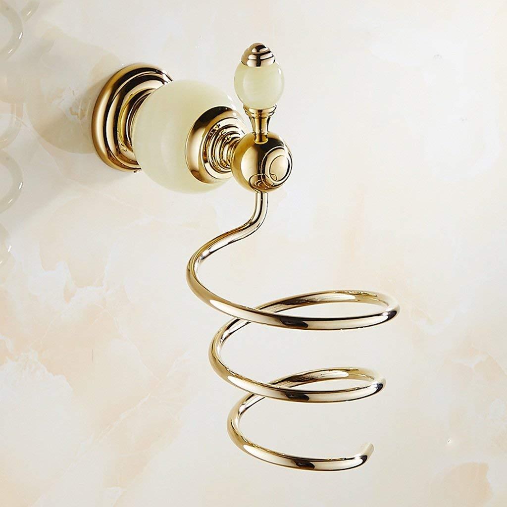 ブロードライヤーホルダー銅ヘアドライヤーラック、翡翠石黄金スタイル、壁掛けヘアドライヤーラック、バスルームアクセサリー、理髪店、ホテル、シャワールームなどに最適 B07TVN6VMN