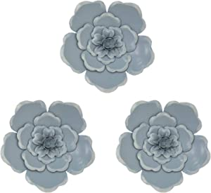 YSHU 8 Inch Metal Layered Flower Wall Sculptures Wall Metal Art Wall Decor for Home Garden Porch Patio 3 Packs (Blue)
