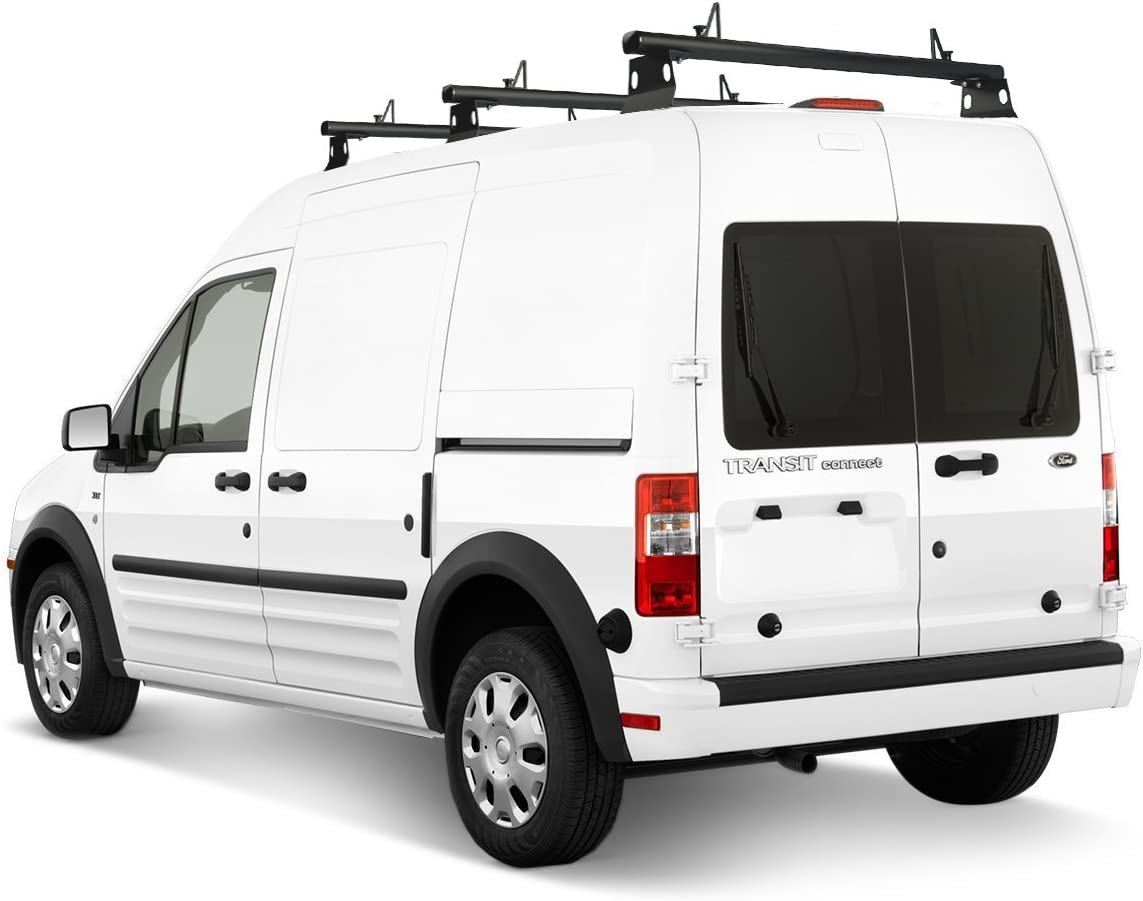 AA-Racks Model ADX32-TR Compatible Ford Transit Connect 2008-13 Aluminum 2 Bar 60 Utility Drilling Van Roof Rack System with Ladder Stopper Sandy Black