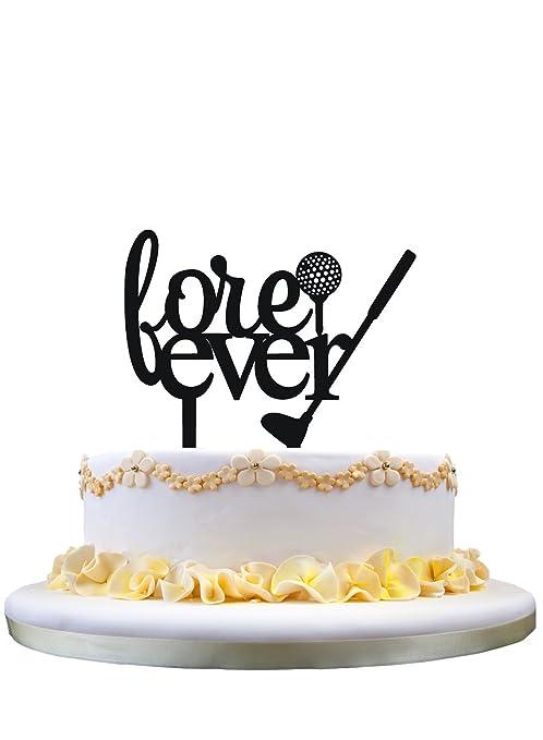 Amazon.com: Fore Ever acrylic wedding cake topper,Golf cake topper ...