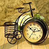 Wrought iron bicycle table clock Rural double-sided quiet home sitting room Decorative Table Clocks
