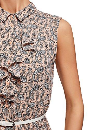 5412e Robe Femme Jabot Collection Rose en oodji Fluide Tissu 8Uagwx7q