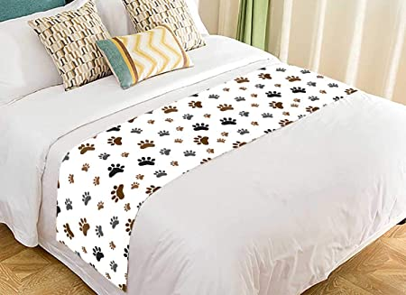 Amazon Com Pkqwtm Pattern Animal Paw Dog Paw Bed Runner Bedroom