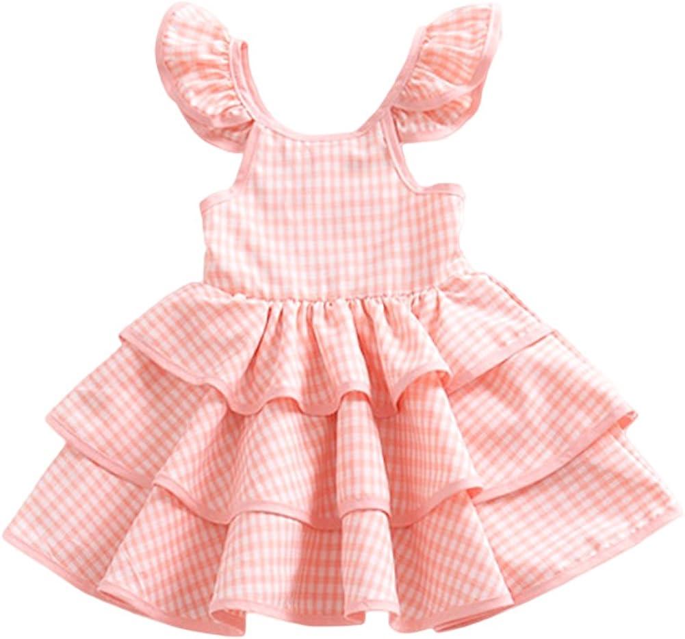 YOHA Baby Girls Lace Ruffle Jumper Dress Suspender Pinafore Toddler Skirts