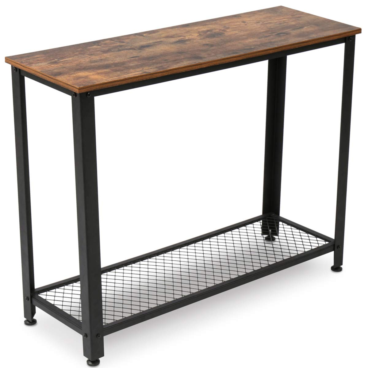 KingSo Industrial Sofa Table with Shelf, Vintage Rustic Console Side Table for Living Room Bedroom Entryway Study Balcony Hallway Workshop, Easy Assembly by KINGSO
