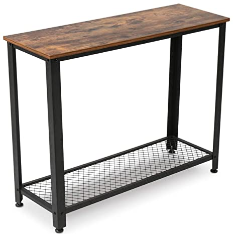 KingSo Industrial Sofa Table with Shelf, Vintage Rustic Console Side Table for Living Room Bedroom Entryway Study Balcony Hallway Workshop, Easy ...