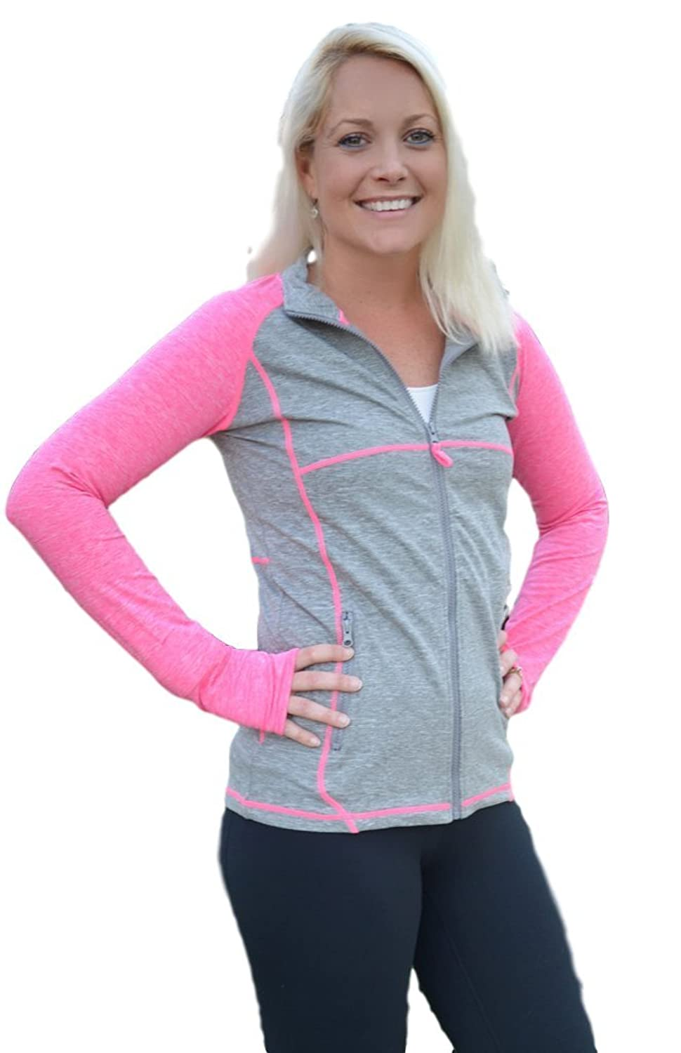 0b12e0d621 My Soxy Feet Women s Lightweight Athletic Jacket - Full Zip Pink Sports  Jacket With Thumbholes and Zip Pockets