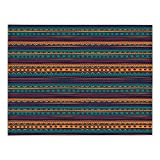Rectangular Satin Tablecloth,Tribal,Striped Retro Aztec Pattern with Rich Mexican Ethnic Color Folkloric Print,Teal Plum and Orange,Dining Room Kitchen Table Cloth Cover