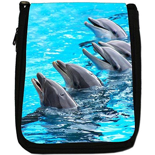 Bag Dolphins Shoulder Of Group Medium Size Black Canvas wwFIHZBq