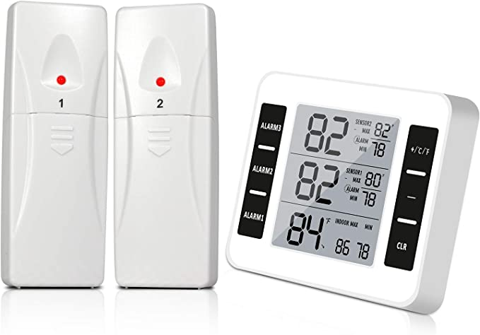 Termómetro de refrigerador, termómetro digital inalámbrico para ...