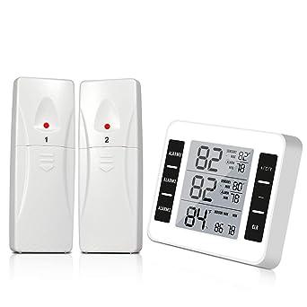 Termómetro de refrigerador, termómetro digital inalámbrico para congelador con 2 sensores inalámbricos con alarma audible para termómetro de interior ...