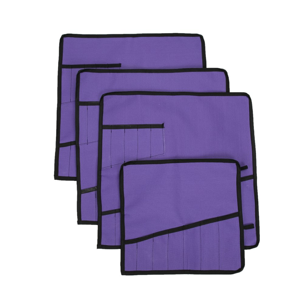 Heavy Duty Oxford Tool Roll Pouch Wrench Holder Organizer Bag With 12 Pockets Set Of 4(HGJ73) (Violet)
