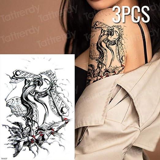Handaxian 3 Piezas Tatuaje Mujer Impermeable cráneo Negro Tatuaje ...