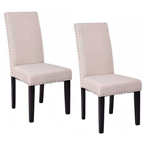 Amazon.com: giantex Set de 2 sillas de comedor tela tapizado ...