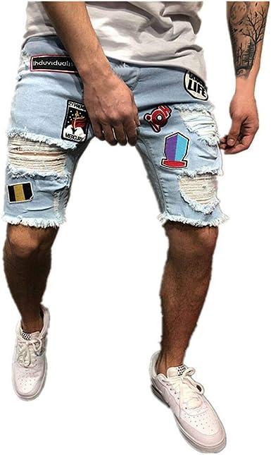 Hombres Pantalones Cortos De Mezclilla Verano Pantalones Vaqueros Cortos Rotos Jeans Bordados Casuales Pantalon De Chandal Fitness Cargo Pantalones Gusspower Amazon Es Ropa Y Accesorios