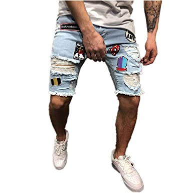 Pantalones Vaqueros Hombre Casuales Moda Pantalones Vaqueros Rotos Hombre Jeans Trend Corto Pantalones Pants Skinny Pantalon Ropa Fitness Hombre Jeans ...