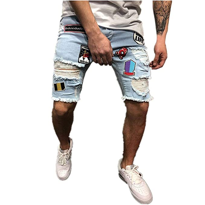 Transser- Distressed Denim Shorts Ripped Jeans Shorts for ...