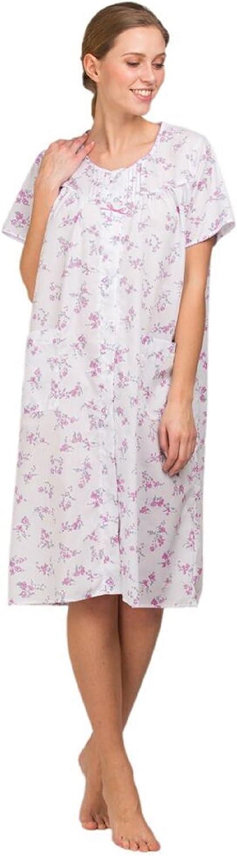 Señoras Señora Olga Polialgodón manga corta Floral Camisón rosa o azul 10-32
