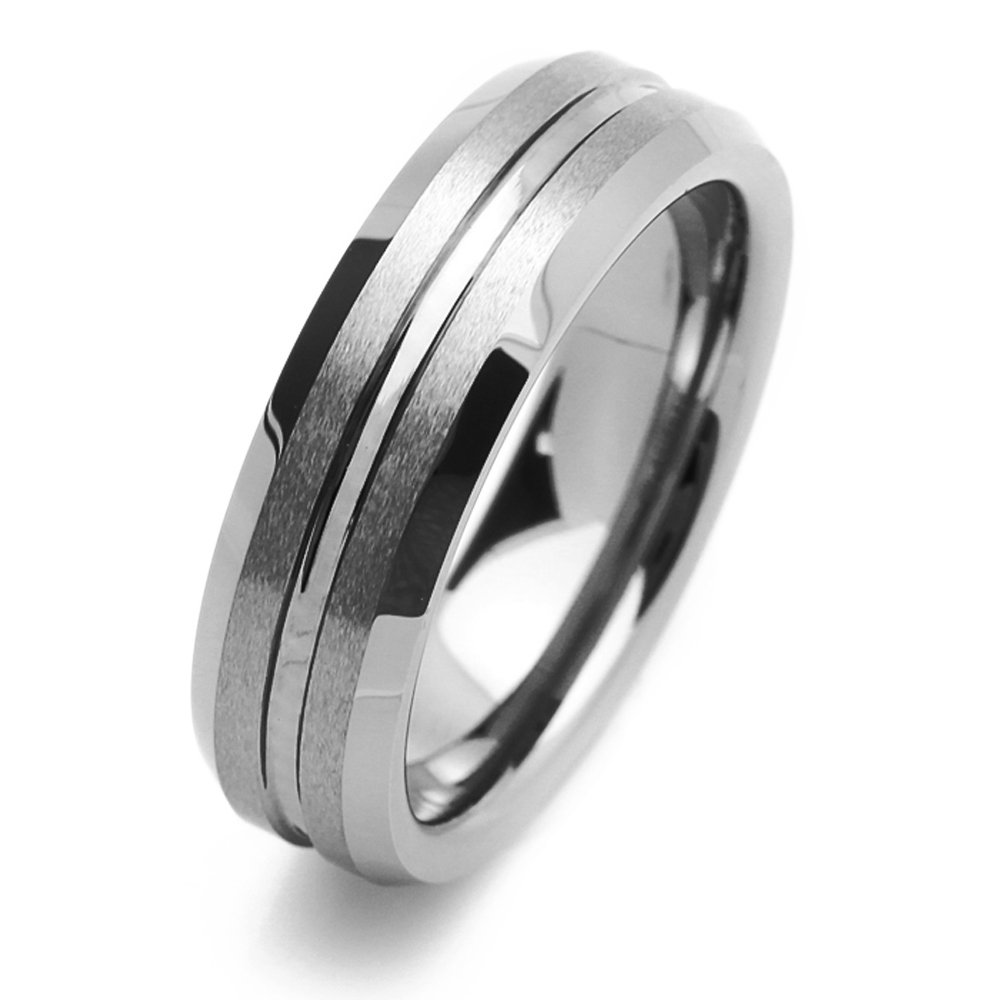 6mm Tungsten Comfort Fit Wedding Band Promise Ring Grooved Center Beveled Edges Ring