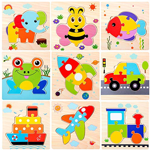 Wooden Jigsaw Puzzles for Toddlers Age 2 3 4 5 Year Old |Preschool Animals Airplane Train Floor Puzzles Set for Kids Children |Shape Color Learning Educational Puzzles Toys for Boys and Girls (9pcs)