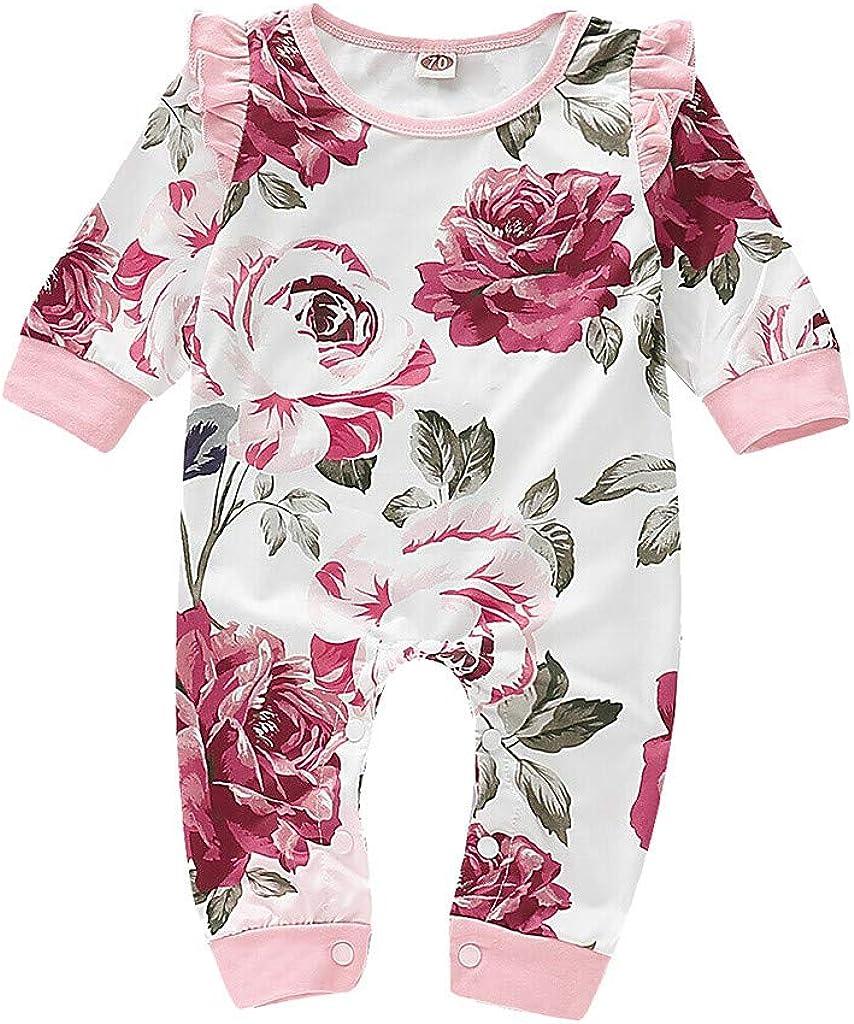 TTLOVE Neugeborenes Baby M/ädchen R/üsche Blumendruck Strampler Langarmshirt Body Overall Herbst Kleidung Outfit Spielanzug Set