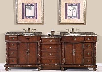 90u0026quot; Double Sink Baltic Brown Granite Top Bathroom Vanity Cabinet  Lavatory Furniture 213BB