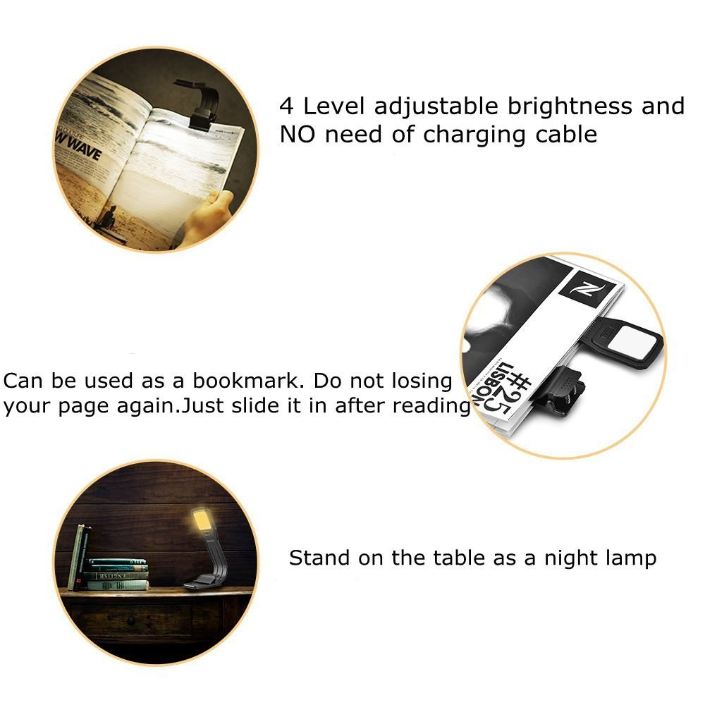 USB Book Light Rechargeable Reading Light for Bed, 2800K Warm White Eye Care 4-Level Brightness LED Lamp, Flexible and Easy Clip On Books for Kindle, Perfect for Bookworms Kids by Oumeiou (Image #3)