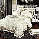 MKXI Fashionable Pattern Satin Jacquard Silk Duvet Cover Set,Luxury Paisley King Set