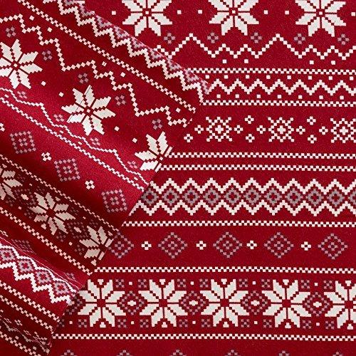 cuddl duds heavyweight 3 piece flannel sheet set red scandinavian fair isle design twin - Christmas Sheets
